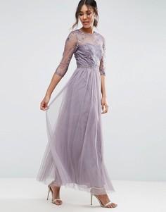 Платье макси с кружевом и вышивкой Little Mistress - Серый