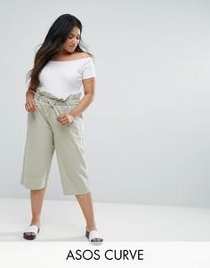 Укороченные брюки-галифе в стиле милитари ASOS CURVE - Зеленый