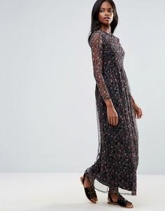 Платье макси с полупрозрачной вставкой First & I - Мульти