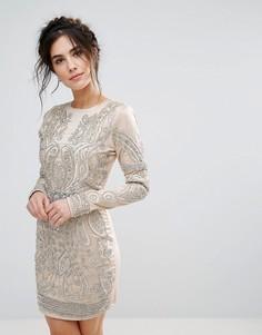 Облегающее платье с отделкой искусственным жемчугом A Star Is Born - Серебряный