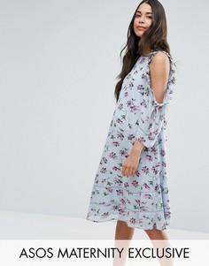 Платье с открытыми плечами, оборкой и цветочным принтом ASOS Maternity - Мульти