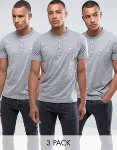 3 серые обтягивающие футболки хенли Abercrombie & Fitch - Скидка 30 - Серый