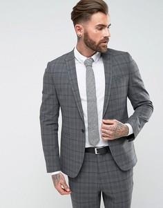 Серый приталенный пиджак в клетку ASOS - Серый