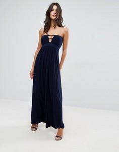 Длинное платье бандо с отделкой лямками City Goddess - Темно-синий