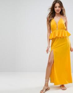 Пляжное платье макси с оборками ASOS - Желтый