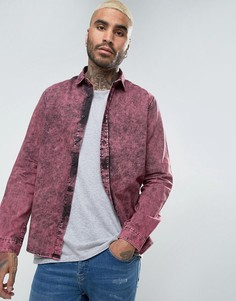 Джинсовая рубашка классического кроя с эффектом кислотной стирки ASOS - Фиолетовый