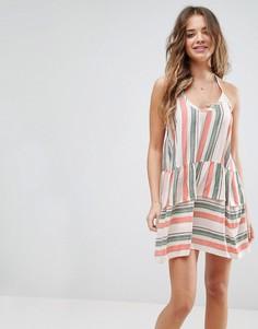 Пляжное платье-халтер в полоску ASOS - Мульти