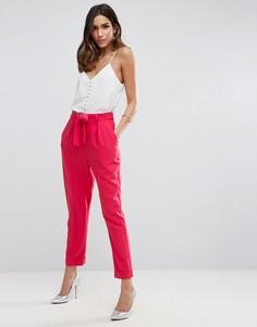 Тканые широкие брюки с поясом-оби ASOS - Розовый