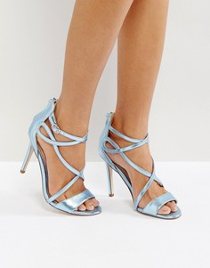 Босоножки на каблуке цвета металлик Miss KG - Синий