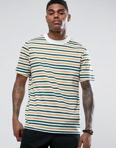 Свободная футболка в полоску из меланжевой ткани ASOS - Белый