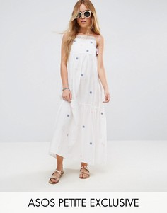 Хлопковое платье макси с вышивкой и кисточками ASOS PETITE - Белый