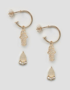 Набор из 2 пар сережек (гвоздики с камнями / кольца с подвесками в виде амулета хамса) ASOS - Золотой