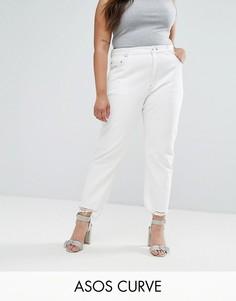 Белые прямые джинсы с необработанными краями ASOS CURVE FLORENCE - Белый