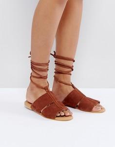 Замшевые сандалии с завязками ASOS FUTURE - Рыжий