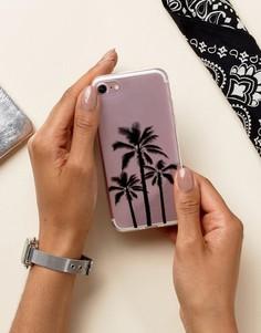 Чехол для Iphone 7 с принтом пальм Signature - Прозрачный