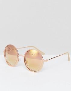 Радужные солнцезащитные очки с отделкой в форме сердца Missguided - Золотой