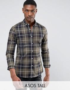Облегающая эластичная рубашка в клетку ASOS TALL - Зеленый