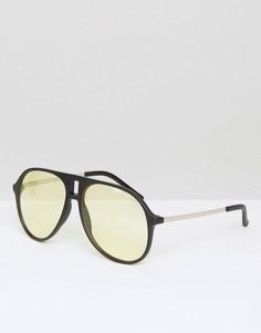 Солнцезащитные очки-авиаторы со светло-желтыми стеклами ASOS Black - Черный