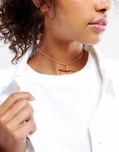 Ожерелье-чокер с дизайном тогл ASOS - Золотой