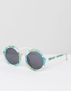 Круглые солнцезащитные очки с принтом пальм Skinnydip - Мульти