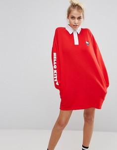 Платье-рубашка в стиле регби Lazy Oaf X Hello Kitty - Красный