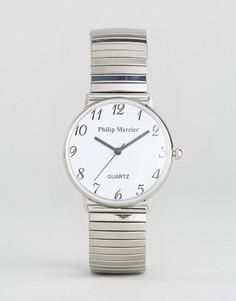Серебристые наручные часы с белым циферблатом Philip Mercier - Золотой