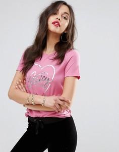 Футболка с блестящим логотипом Juicy Couture - Розовый