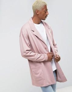 Длинное oversize-пальто из трикотажа розового цвета ASOS - Розовый