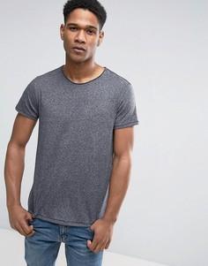 Черная меланжевая футболка с логотипом Tommy Hilfiger Denim - Черный