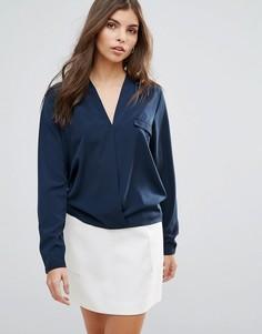 Блузка с запахом и длинными рукавами Vila - Синий