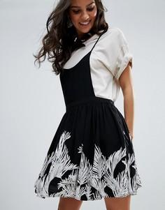 Платье с тропическим принтом Free People - Черный