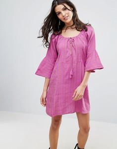 Льняное платье Free People Fol Town - Фиолетовый