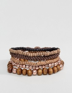 Набор деревянных браслетов и браслетов из шнурков Icon Brand - Мульти