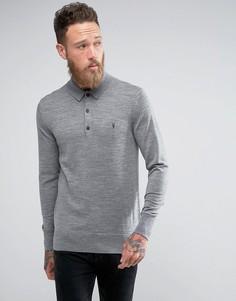 Трикотажная футболка-поло из 100% мериносовой шерсти AllSaints - Серый