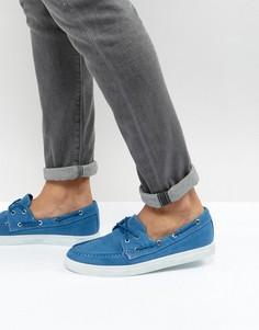 Выбеленные синие парусиновые мокасины Armani Jeans - Синий