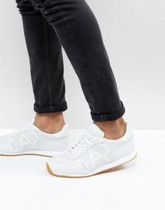 Белые кожаные кроссовки с перфорацией Armani Jeans - Белый