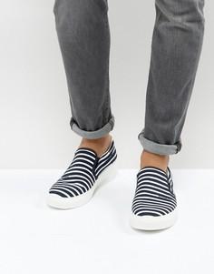 Темно-синие кеды-слипоны в полоску Armani Jeans - Темно-синий