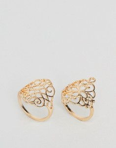 2 кольца с филигранной отделкой ASOS - Золотой