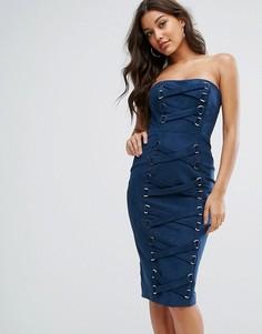 Платье-бандо с корсетной отделкой Misha Collection - Темно-синий