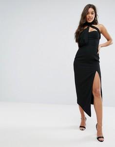 Платье миди с вырезом Misha Collection - Черный