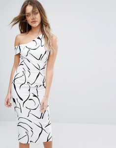 Асимметричное платье миди и монохромным принтом Lavish Alice - Мульти