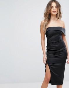 Атласное платье-бандо миди с оборками Lavish Alice - Черный