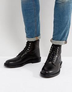 Кожаные ботинки на шнуровке Walk London Darcy - Черный