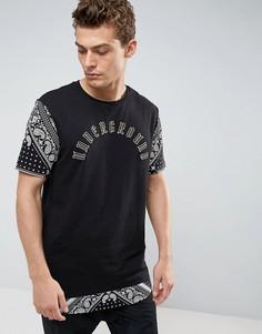 Длинная футболка с принтом пейсли на рукавах и асимметричным краем ASOS - Черный