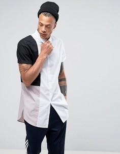 Длинная рубашка со вставкой ASOS - Белый