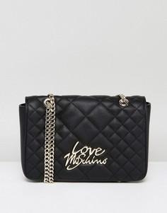 Стеганая сумка на плечо с цепочкой Love Moschino - Черный