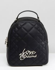 Стеганый рюкзак с логотипом Love Moschino - Черный