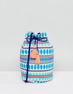 Сумка-мешок через плечо с вышивкой и кисточками Ashiana - Синий