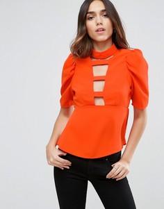 Блузка с глубоким вырезом и рукавами в стиле 80-х ASOS - Красный