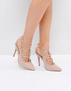 Туфли на каблуке с заклепками New Look - Бежевый